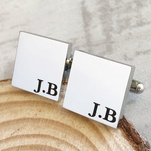 Silver square initial cufflinks for him birthday anniversary father's day christmas wedding