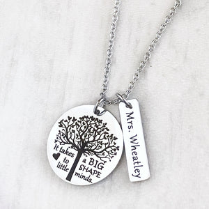 tree of life engraved necklace with it takes a big heart to shape little minds with teachers name charm