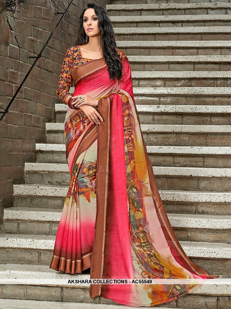 AC55549 - Pink and Brown Color Chanderi Silk Saree