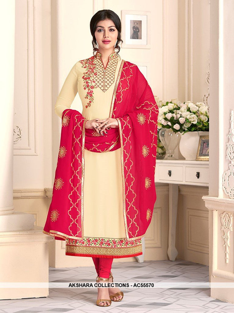 AC55570 - Cream Color Georgette Salwar Kameez