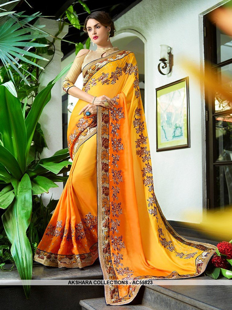 AC55823 - Yellow Color Georgette Saree