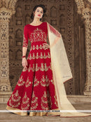 AC56408 - Red Color Mulbury Silk Anarkali Suit