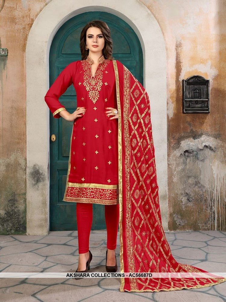 AC56687D - Red Color Georgette Churidar Suit