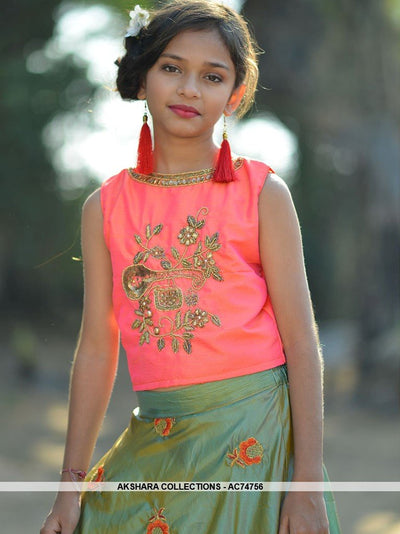 AC74756 - Dark Peach and Green Color Silk Kids Readymade Gown