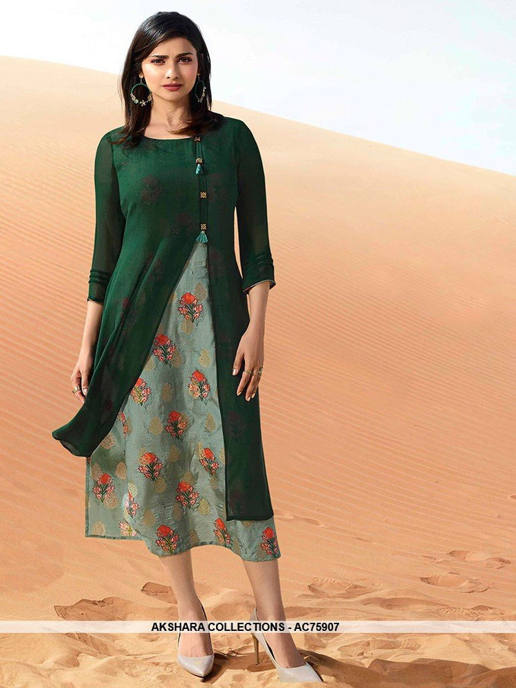 AC75907 - Dark Green and Light Green Color Georgette Kurti