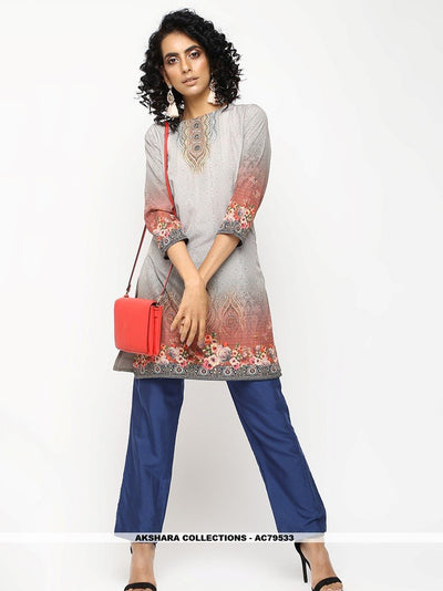 AC79533 - Light Grey Color American Crepe Readymade Kurti