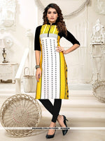 AC80938 - Yellow and Off White Color Heavy American Crepe Readymade Kurti