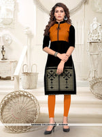 AC80939 - Black Color Heavy American Crepe Readymade Kurti