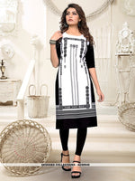 AC80940 - Off White and Black Color Heavy American Crepe Readymade Kurti