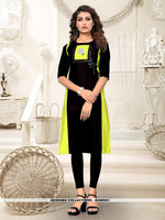 AC80941 - Black and Parrot Green Color Heavy American Crepe Readymade Kurti