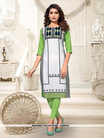 AC80942 - Pista Green and Off White Color Heavy American Crepe Readymade Kurti