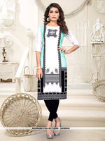AC80943 - Off White and Black Color Heavy American Crepe Readymade Kurti