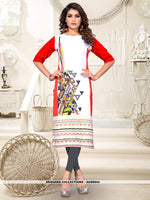 AC80944 - Off White and Red Color Heavy American Crepe Readymade Kurti