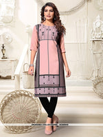 AC80945 - Peach and Black Color Heavy American Crepe Readymade Kurti