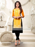 AC80947 - Yellow and Black Color Heavy American Crepe Readymade Kurti