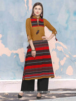 AC81449 - Brown,Red and Black Color Cotton Readymade Kurti