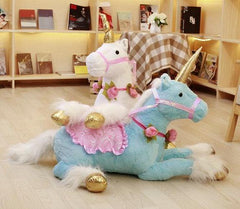 40in Giant Stuffed Unicorn Pony Plush Toy Animal w/ Flowers