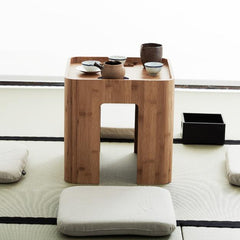 Handcrafted Bamboo Multi Function Tea/Coffee Table w/ Four Cushions