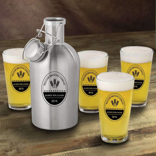 Personalized Insulated Brewery Growler & Pint Glasses Set - Way Up Gifts