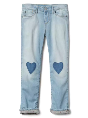 1969 JERSEY-LINED HEART JEANS BY GAP(5-18YRS)