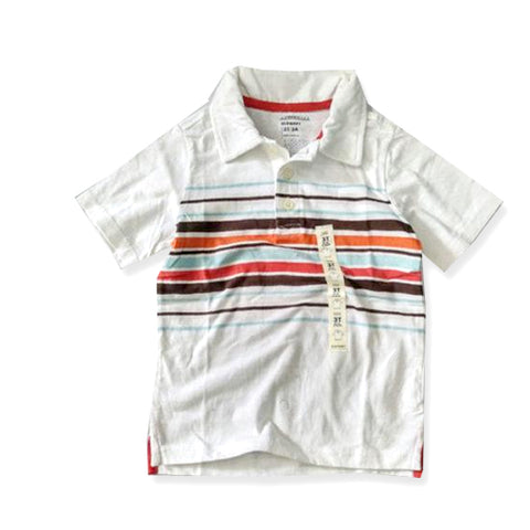 BOY'S MULTI-STRIPE WHITE POLO | OLD NAVY (12M-3Y)