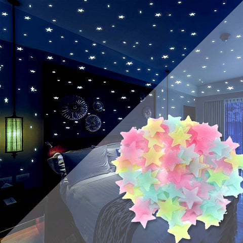 FLUORESCENT NIGHT GLOWING STARS-(100 PCS)