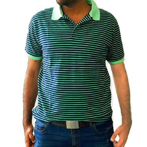 MEN'S GREEN STRIPPER POLO | BOSTON CREW