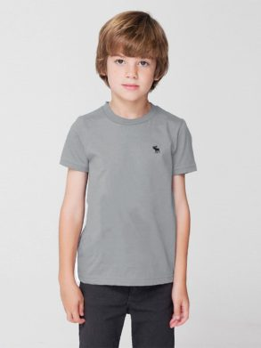 BOY'S A&F SIGNATURE EMBROIDERY TEE – (GREY)
