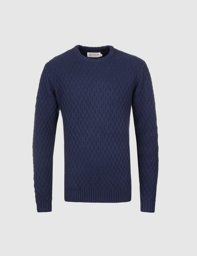 Farah- Heaney-Navy- Cable Knit -Lambswool- crew neck-jumper- menswear-reverse clothing store-perugia-umbria