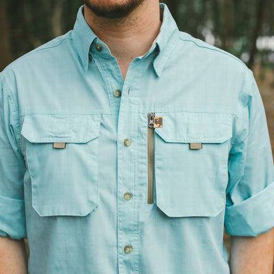 Riverdale Fishing Shirt in Seafoam Plaid