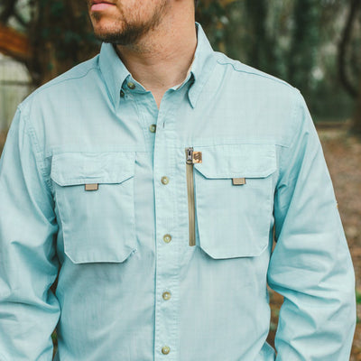 Riverdale Fishing Shirt in Seafoam Plaid hover
