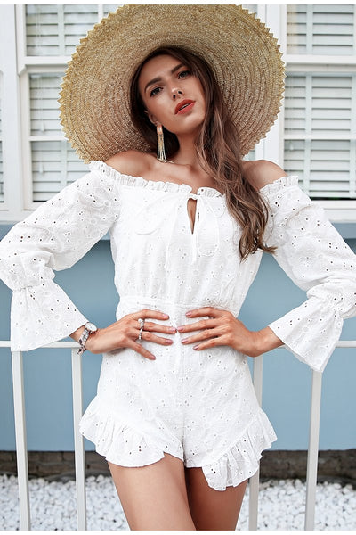 Harriet Off The Shoulder Embroidered Playsuit