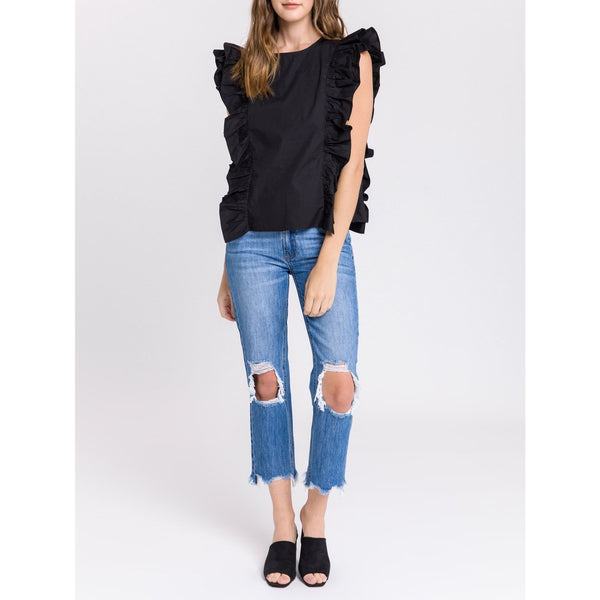 Poplin Ruffled Top