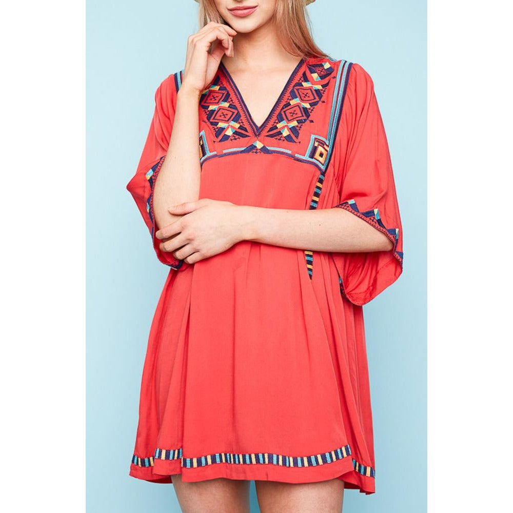 red embroidered tunic dress