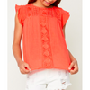Girls or Tween Knit Crochet Red Top Summer