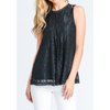 black lace women's sleeveless top blouse