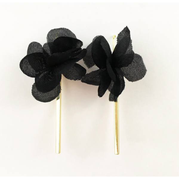 Black Flower with Gold Bar Earrings