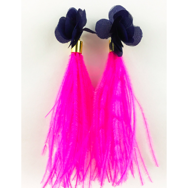 Navy Flower with Hot Pink Ostrich Feathers Earrings