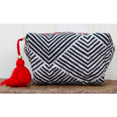 Quilted Stripe Makeup Bag