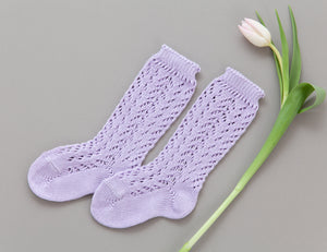 Crochet Folklore Knee Socks, Lavender