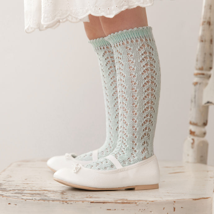 Crochet Folklore Knee Socks, Seafoam