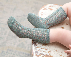 Shimmer Crochet Knee Socks, Mermaid