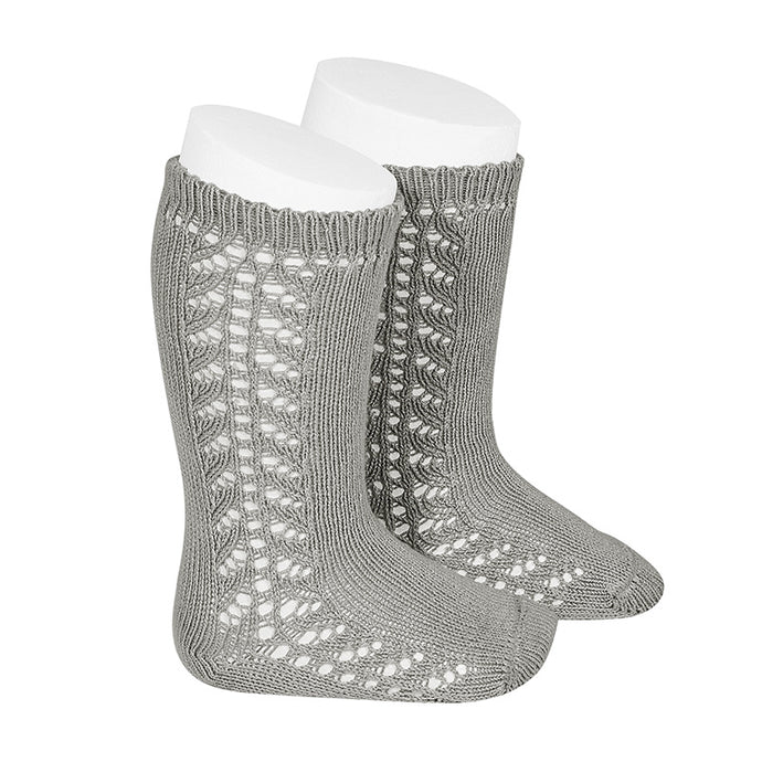 Crochet Knee Socks, Heather Grey