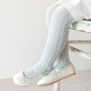 Perle Crochet Tights, Seafoam
