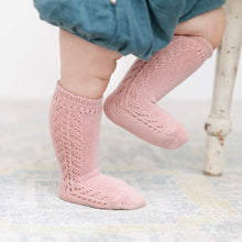 Crochet Knee Socks, Pale Rose