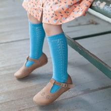 Crochet Knee Socks, Azure