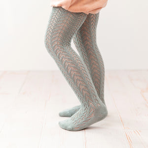Folklore Crochet Tights, Sea Mist