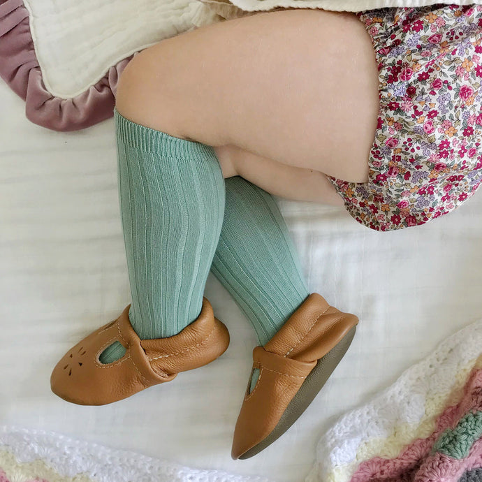 Ribbed Knee Socks, Meadow Green