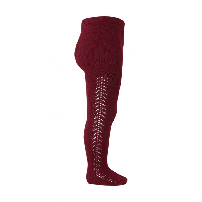 Crochet Tights, Burgundy