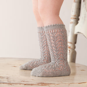 Shimmer Crochet Knee Socks, Silver